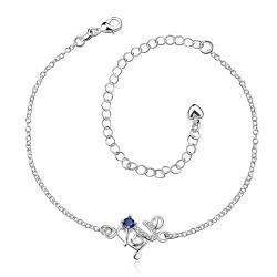 Vienna Jewelry Petite Purple Citrine Spiral Floral Emblem Anklet