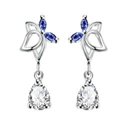 Vienna Jewelry Mock Sapphire Hollow Butterfly Dangling Earrings