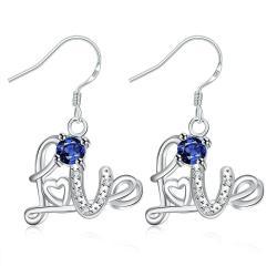 Vienna Jewelry Mock Sapphire Love Emblem Drop Earrings