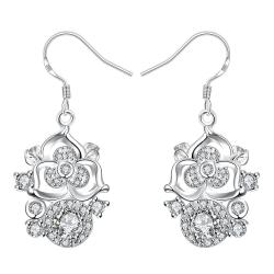 Vienna Jewelry Petite Crystal Stone Gem Blossoming Clover Drop Earrings
