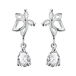 Vienna Jewelry Crystal Jewels Hollow Butterfly Dangling Earrings