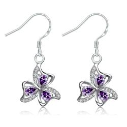 Vienna Jewelry Purple Citrine Trio-Floral Petals Drop Earrings - Thumbnail 0