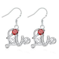Vienna Jewelry Ruby Red Love Emblem Drop Earrings