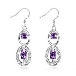 Vienna Jewelry Purple Citrine Duo Drop Dangling Earrings