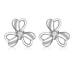 Vienna Jewelry Hollow Trio-Clover Petal Stud Earrings