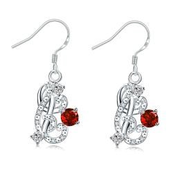Vienna Jewelry Petite Ruby Red Swirl Emblem Drop Earrings