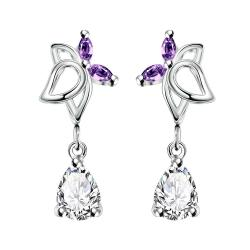 Vienna Jewelry Purple Citrine Hollow Butterfly Dangling Earrings
