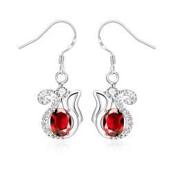 Vienna Jewelry Ruby Red Open Design Drop Earrings