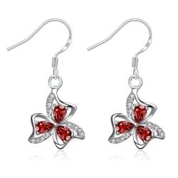 Vienna Jewelry Ruby Red Trio-Floral Petals Drop Earrings