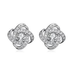 Vienna Jewelry Petite Silver Tone Infinite Knot Stud Earrings