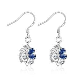 Vienna Jewelry Petite Spiral Sapphire Drop Earrings