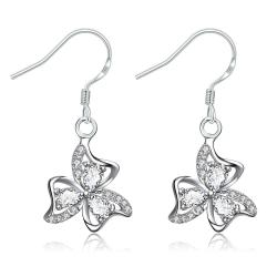 Vienna Jewelry Crystal Jewels Trio-Floral Petals Drop Earrings