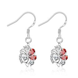 Vienna Jewelry Petite Spiral Ruby Red Drop Earrings