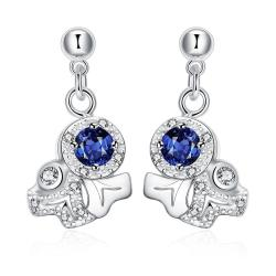 Vienna Jewelry Petite Mock Sapphire Gem Spiral Drop Earrings