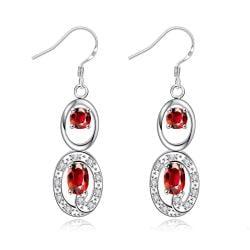 Vienna Jewelry Ruby Red Duo Drop Dangling Earrings