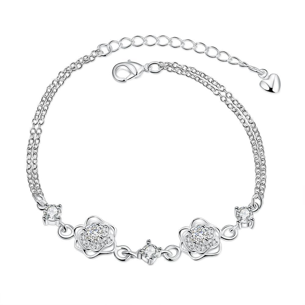 Vienna Jewelry Crystal Stone Floral Blossom Petite Anklet