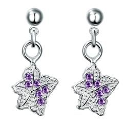 Vienna Jewelry Silver Tone Purple Citrine Dangling Butterfly Earrings