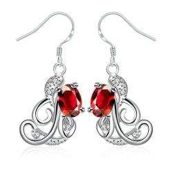 Vienna Jewelry Ruby Red Spiral Design Emblem Drop Earrings