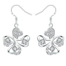 Vienna Jewelry Crystal Jewels Clover Shaped Drop Earrings