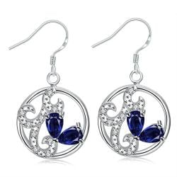 Vienna Jewelry Petite Mock Sapphire Laser Cut Spiral Drop Earrings
