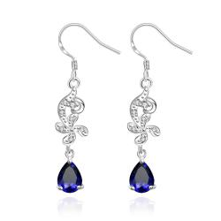 Vienna Jewelry Petite Mock Sapphire Gem Dangling Drop Earrings