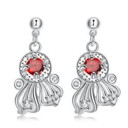 Vienna Jewelry Ruby Red Drop Spiral Lining Earrings