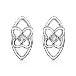 Vienna Jewelry Silver Tone Hollow Laser Cut Spiral Drop Stud Earrings