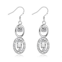 Vienna Jewelry Crystal Stone Duo Drop Dangling Earrings