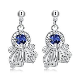 Vienna Jewelry Mock Sapphie Drop Spiral Lining Earrings