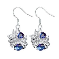Vienna Jewelry Mock Sapphire Floral Jewels Covering Drop Earrings