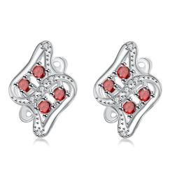 Vienna Jewelry Ruby Red Spiral Jewels Inlay Stud Earrings