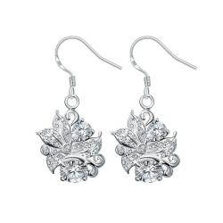 Vienna Jewelry Crystal Stone Floral Jewels Covering Drop Earrings