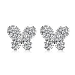 Vienna Jewelry Silver Tone Petite Butterfly with Jewels Stud Earrings