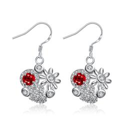 Vienna Jewelry Petite Ruby Red Blossoming Floral Drop Earrings