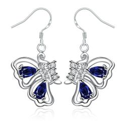 Vienna Jewelry Mock Sapphire Butterfly Wings Drop Earrings