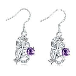Vienna Jewelry Petite Purple Citrine Swirl Emblem Drop Earrings