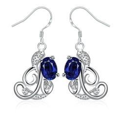 Vienna Jewelry Mock Sapphire Spiral Design Emblem Drop Earrings