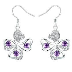 Vienna Jewelry Purple Citrine Clover Shaped Drop Earrings