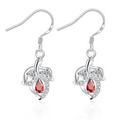 Vienna Jewelry Ruby Red Floral Triangular Drop Earrings