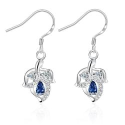 Vienna Jewelry Mock Sapphire Floral Triangular Drop Earrings