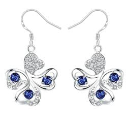 Vienna Jewelry Mock Sapphire Clover Shaped Drop Earrings