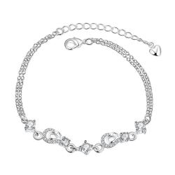 Vienna Jewelry Crystal Jewels Hollow Hearts Petite Anklet