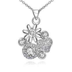 Vienna Jewelry Petite Crystal Jewels Gem Multi Floral Charms Pendant Necklace - Thumbnail 0