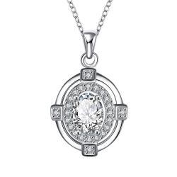 Vienna Jewelry Crystal Stone Pendant Drop Necklace