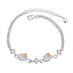 Vienna Jewelry Petite Orange Citrine Gem Anklet
