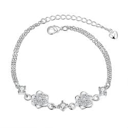 Vienna Jewelry Crystal Stone Floral Blossom Petite Anklet - Thumbnail 0