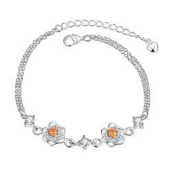 Vienna Jewelry Orange Citrine Floral Blossom Petite Anklet
