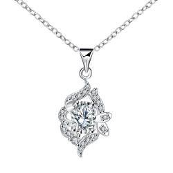 Vienna Jewelry Petite Crystal Stone Jewels Spiral Drop Necklace