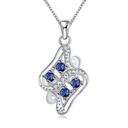 Vienna Jewelry Quad-Sapphire Gem Diamond Shaped Drop Necklace