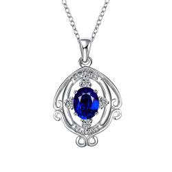 Vienna Jewelry Mock Sapphire Blossoming Spiral Jewels Drop Necklace